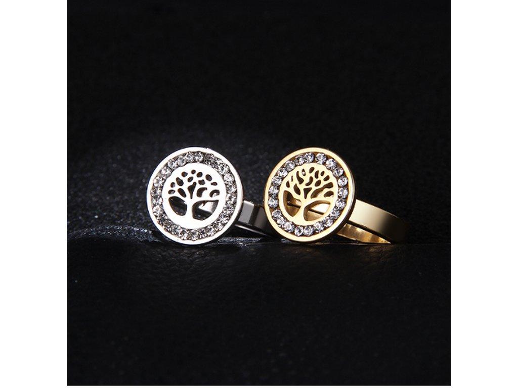 04bad204a ... Dámský prsten z chirurgické oceli- Strom života se zirkony- zlatý  SR000036 (Velikost 9