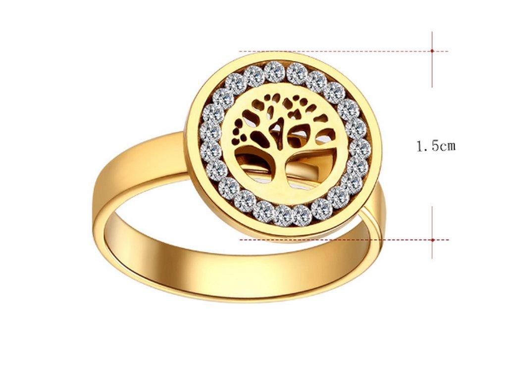 2f3c3b462 ... Dámský prsten z chirurgické oceli- Strom života se zirkony- zlatý  SR000036 (Velikost 9 ...