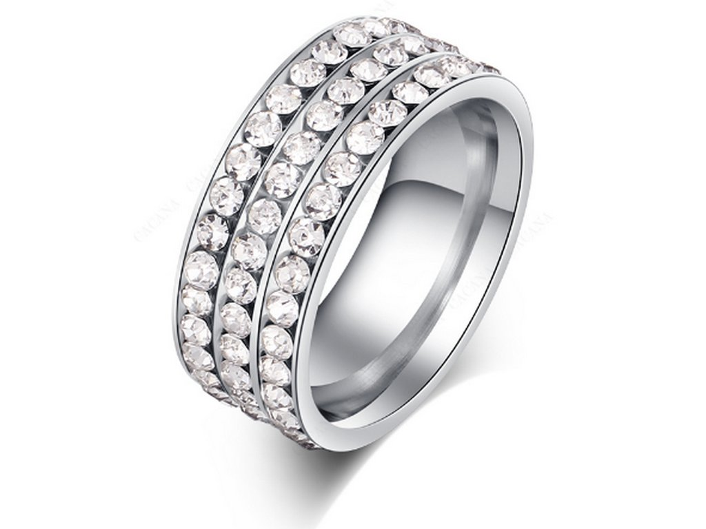 ccccd61bb Stříbrný prsten z chirurgické oceli s malými zirkony čiré barvy- 8 mm  SR000044 (Velikost ...