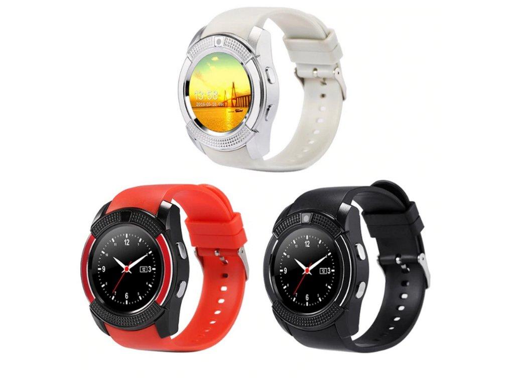 Chytré hodinky V8 s kamerou a slotem na sim kartu- 4 barvy SMW00026 (Barva Modrá)