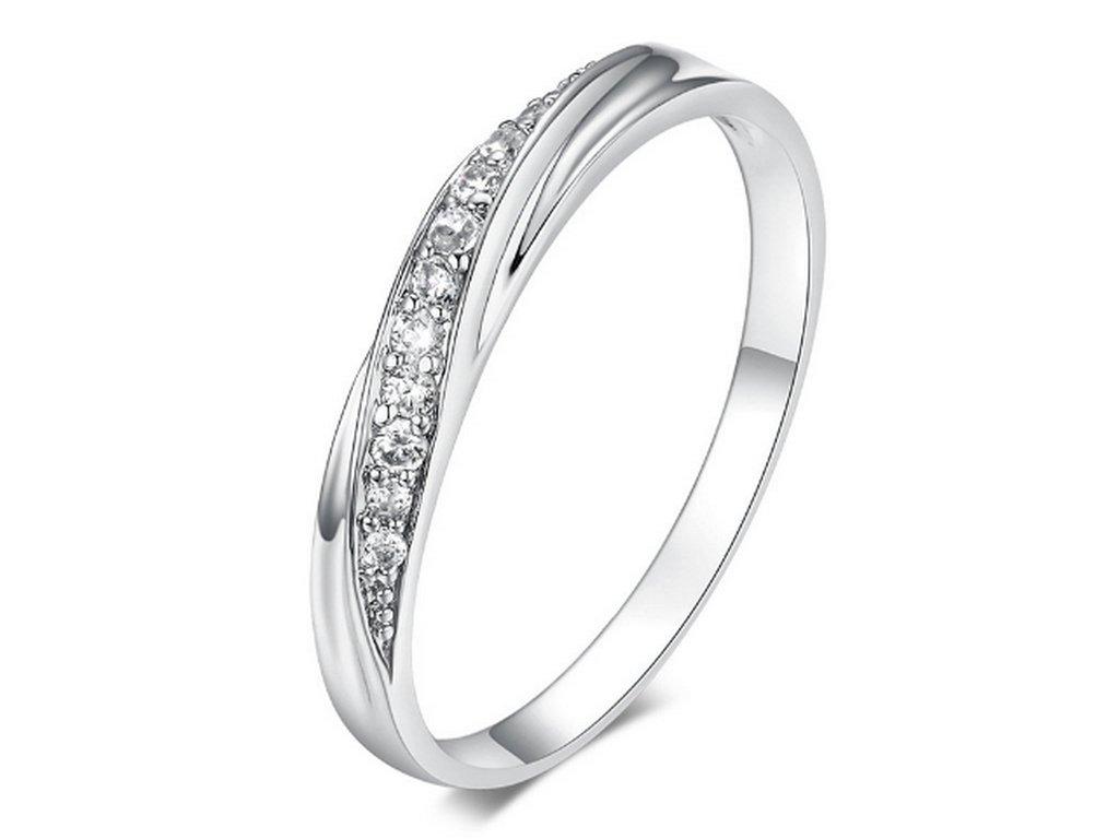 Decentní stříbrný prsten se zirkony z rhodiované bižuterie SR000062  (Velikost 9) 947400c2c3e