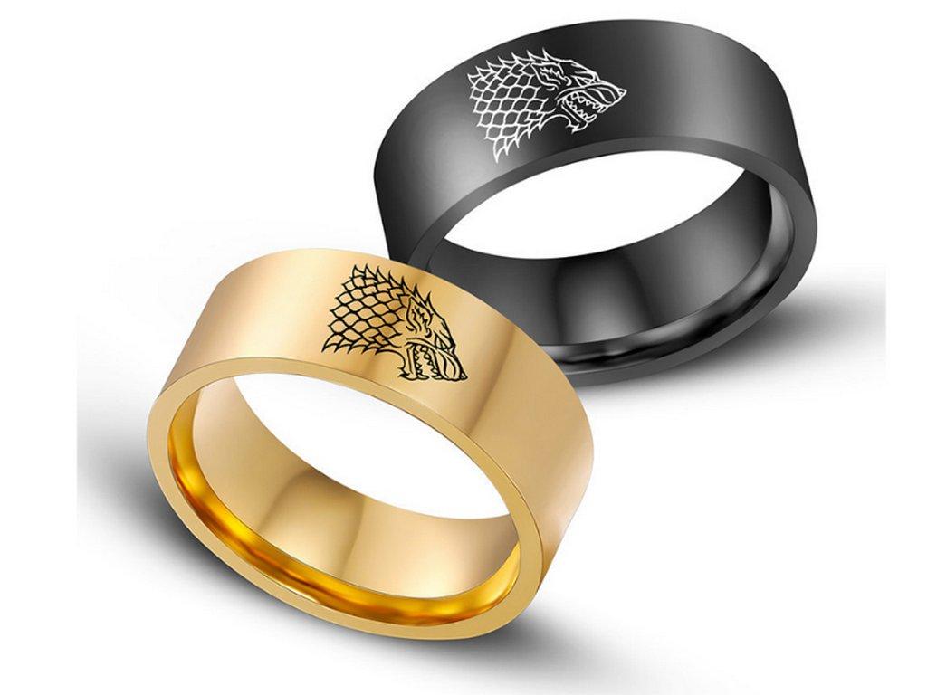 cf08d8356 ... Zlatý prsten z chirurgické oceli se Stark house z Games of Thrones-Hra  o trůny