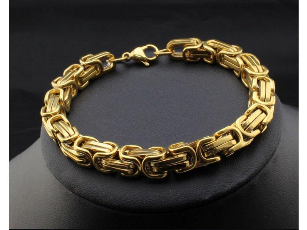 0feeaec80 Pánský masivní proplétaný náramek z oceli ON2 (Barva Zlatá)