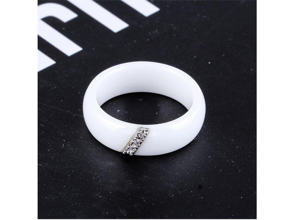 Dámský prsten z keramiky, chirurgické oceli se zirkony v bílé barvě SR000074 (Velikost 9)