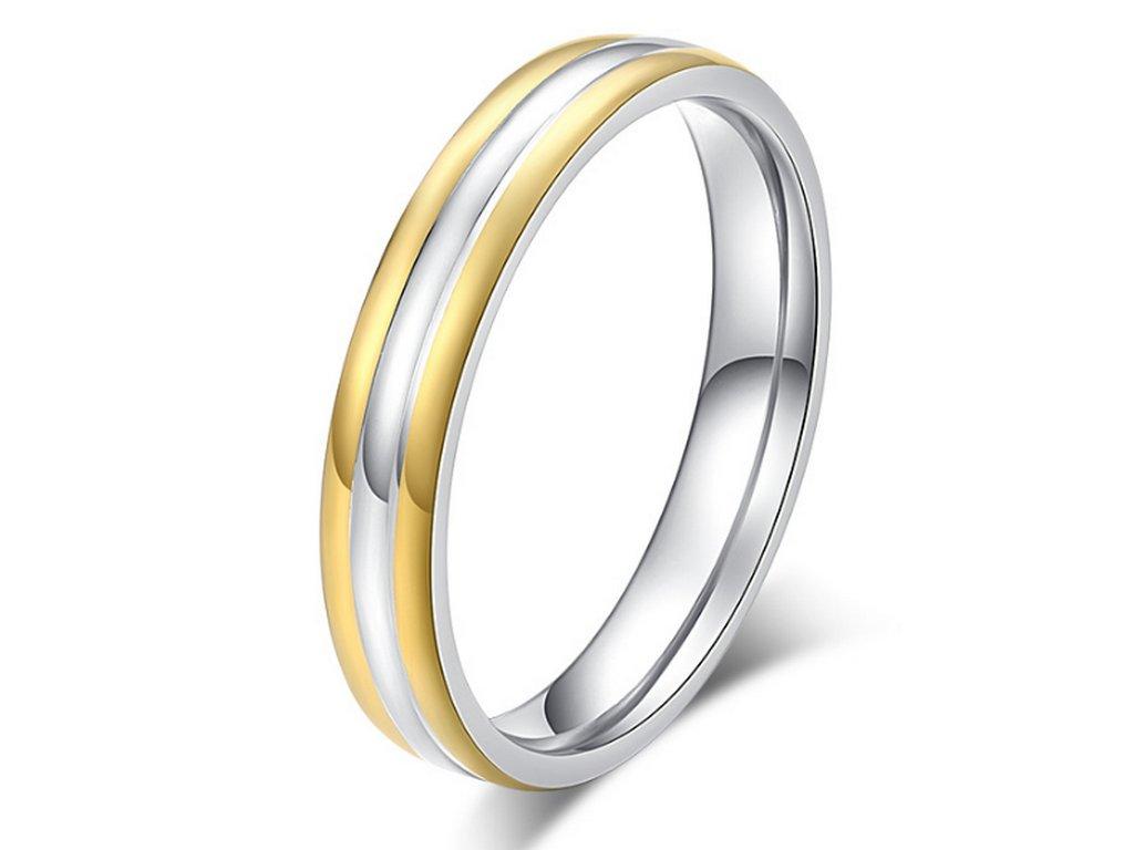 154f81f32 Dámský prsten Triple Line stříbrnozlatý z oceli SR000098 (Velikost 9)