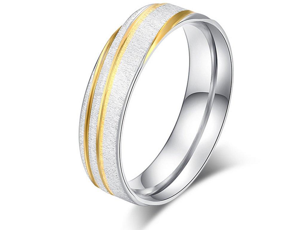 Prsten z broušeného chirurgické oceli stříbrnozlatý Gold strip SR000109 (Velikost 9)