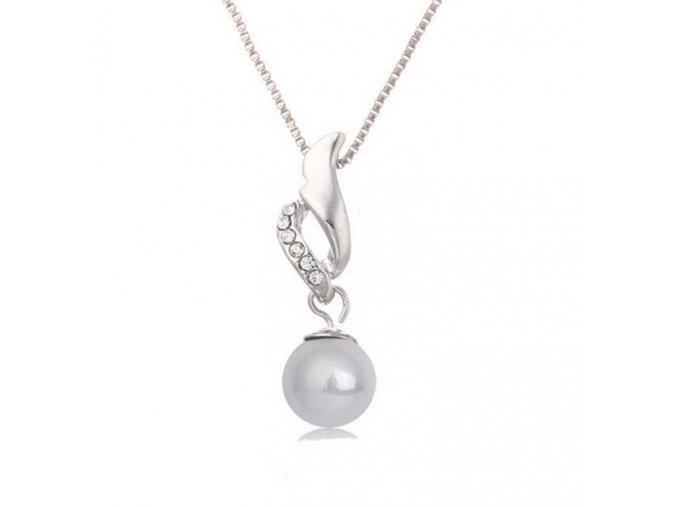Řetízek s přívěskem perly a zirkony PN00002