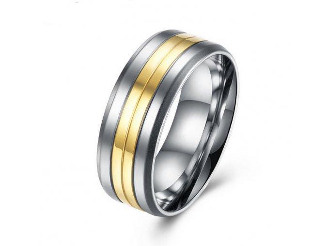 Prsten z chirurgické oceli Coloro- stříbrnozlatý SR000017 (Velikost 9)