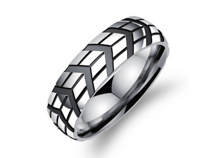 Prsten z leštěné chirurgické oceli Notch SR000025 (Velikost 9)