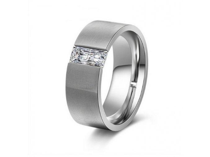 Dámský prsten z chirurgické oceli stříbrný s velkým zirkonem SR000027 (Velikost 9)