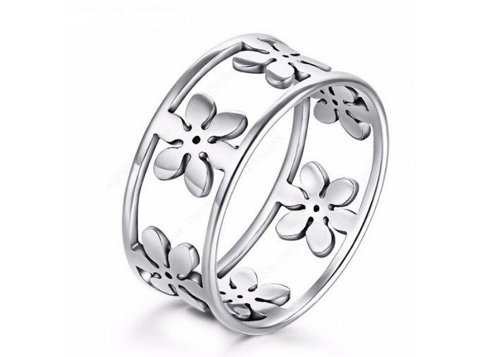 Dámský prsten z chirurgické oceli s květinami- stříbrný SR000033 (Velikost 9)