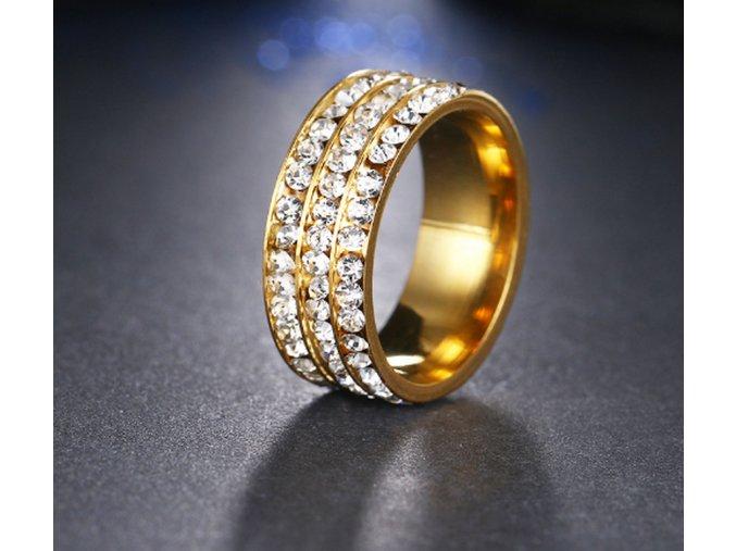Zlatý prsten z chirurgické oceli s malými zirkony čiré barvy- 8 mm SR000045 (Velikost 9)