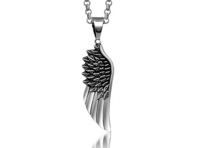 Náhrdelník - Andělské křídlo z chirurgické oceli ve stříbrném provedení PN0000137