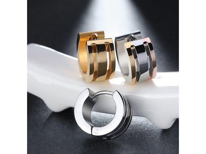 Dámské kruhové náušnice z chirurgické oceli-  3 barvy SE000069 (Barva Zlatá)