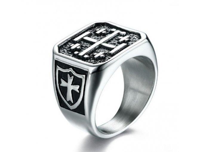 Pánský prsten s kříži z masivní chirurgické oceli SR000058 (Velikost 9)