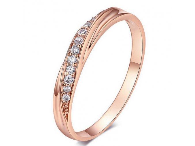 Decentní bronzový prsten se zirkony z rhodiované bižuterie SR000061 (Velikost 9)