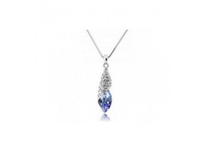 Náhrdelník Long Drop z rhodivované bižuterie se zirkony PN000149 (Barva Tyrkysová)