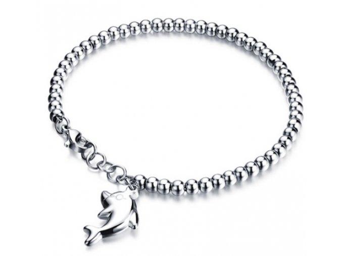 Dámský kuličkový náramek z oceli s přívěskem delfína ON10 (Barva Růžovozlatá)