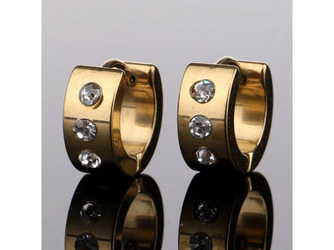 Kruhové náušnice s třemi zirkony z chirurgické oceli SE000078 (Barva Zlatá)
