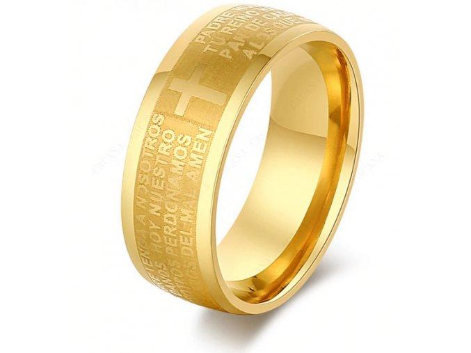 Zlatý prsten z chirurgické oceli s křížem a modlitbou SR000089 (Velikost 9)
