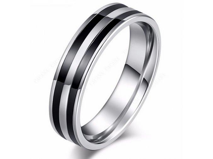 Stříbrný prsten Double black line z chirurgické oceli SR000091 (Velikost 9)