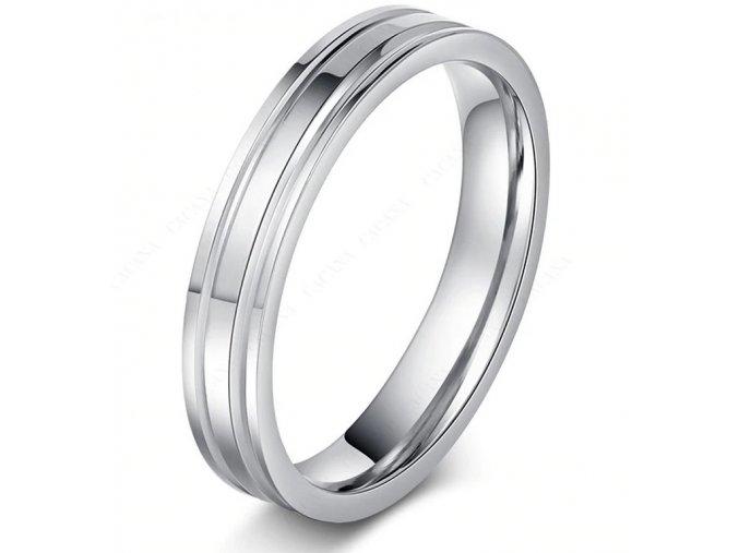 Stříbrný prsten z chirurgické oceli stříbrný- rýhovaný SR000099 (Velikost 9)
