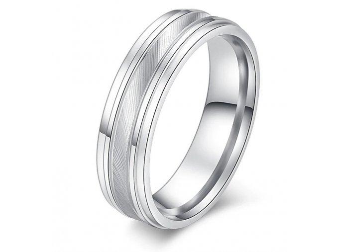 Prsten z chirurgické oceli Double-line Diagonal  SR000101 (Velikost 9)