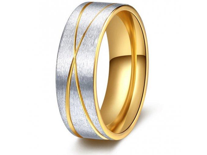 Prsten z broušené chirurgické oceli stříbrnozlatý Double X SR000102 (Velikost 9)