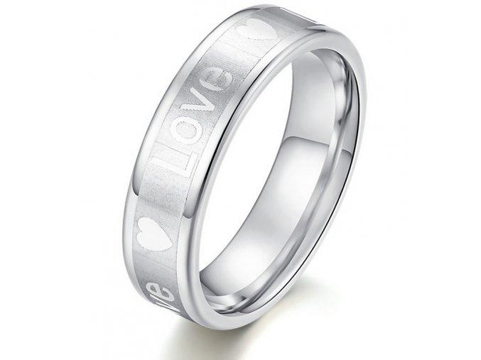 Stříbrný prsten z oceli s nápisem LOVE SR000110 (Velikost 9)