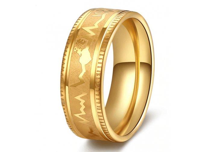 Prsten z chirurgické oceli křivka EKG- zlatý SR000114 (Velikost 9)