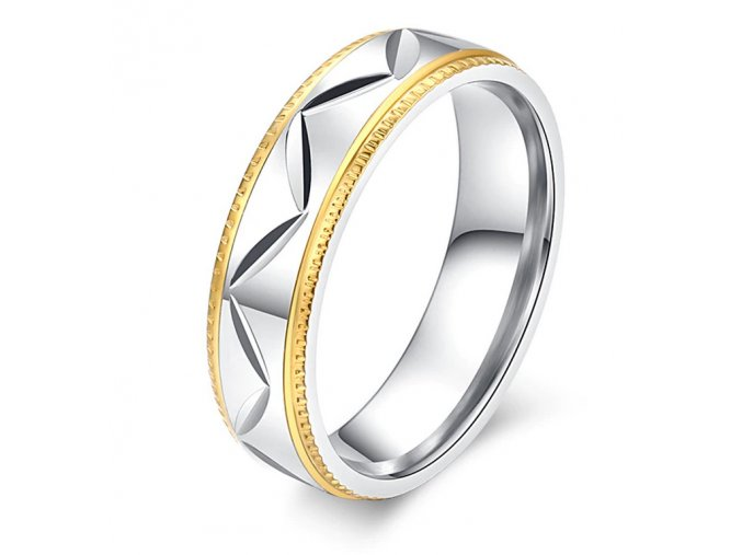 Prsten z chirurgické oceli ve stříbrnozlatém provedení CIK-CAK SR000115 (Velikost 9)