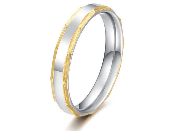 Decentní stříbrnozlatý prsten z chirurgické oceli SR000118 (Velikost 9)