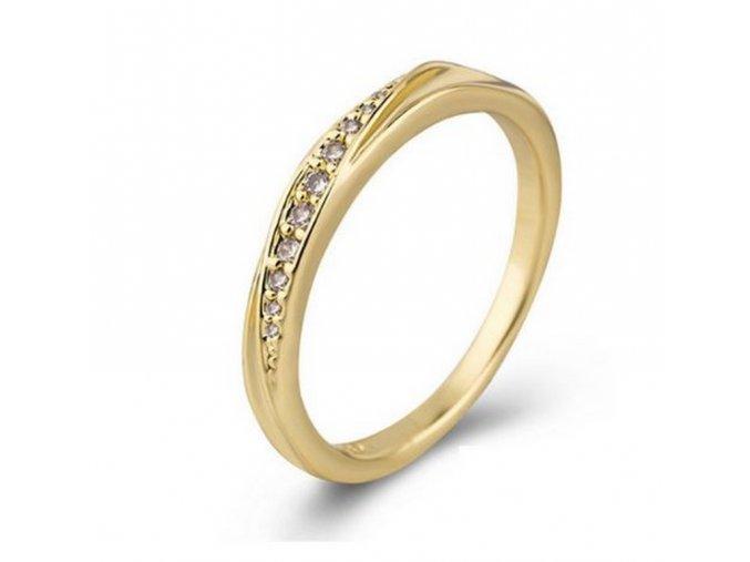 Decentní zlatý prsten se zirkony z rhodiované bižuterie SR000120 (Velikost 9)