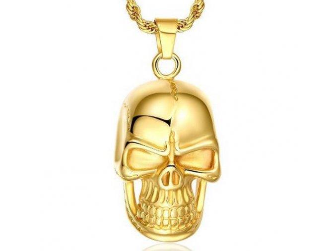 493110 zlaty privesek lebky s retizkem z chirurgicke oceli pn000172