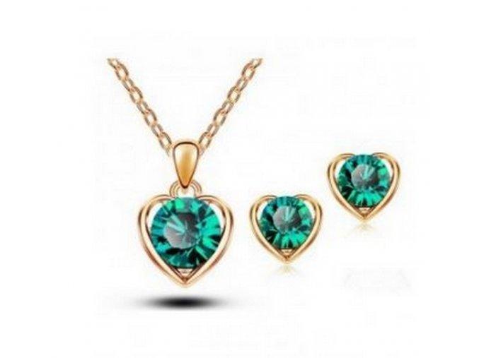 Srdíčkový set šperků se zirkony z rhodiované bižuterie- gold CS000077 (Barva Zelená)