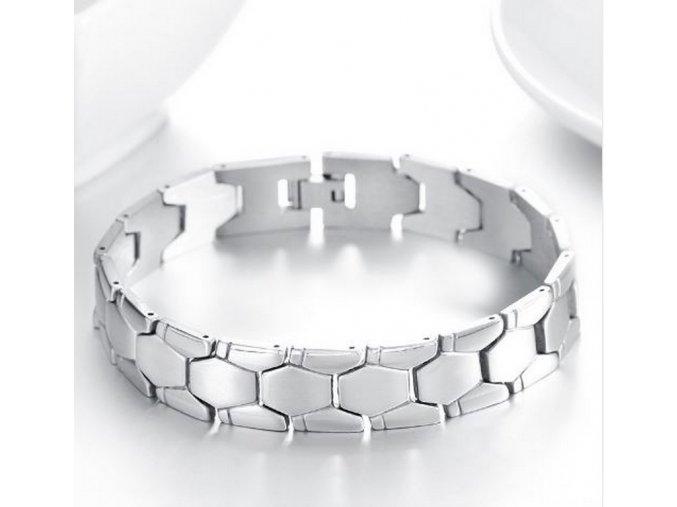 Masivní náramek z chirurgické oceli - stříbrný ON27