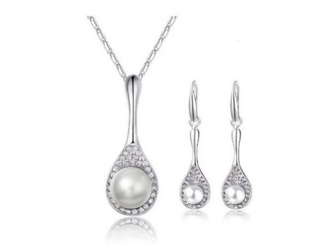 Perlový set šperků se zirkony z rhodiované bižuterie- 2 barvy