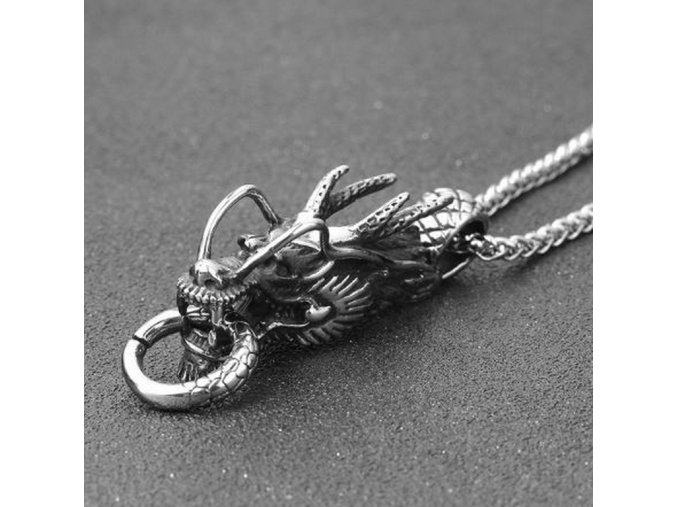 Řetízek s přívěskem draka - Dragon z chirurgické oceli PN177