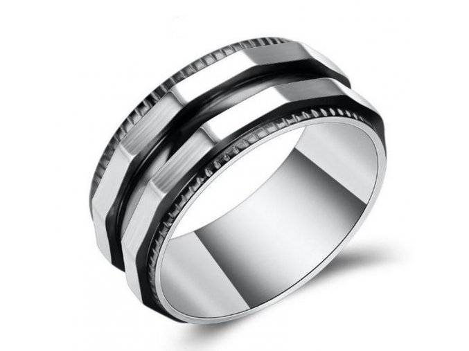Prsten zkosený z chirurgické oceli- stříbrnočerný SR128