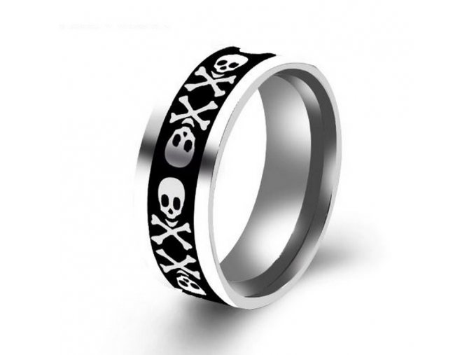 Prsten z chirurgické oceli s lebkou- PIRÁT -stříbrný SR136