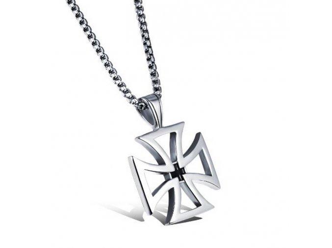 Stříbrný náhrdelník Helvétský kříž z chirurgické oceli PN179