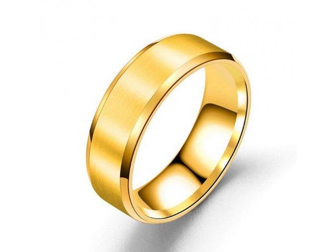 Prsten z broušeného titanu ve zlatém provedení SR155