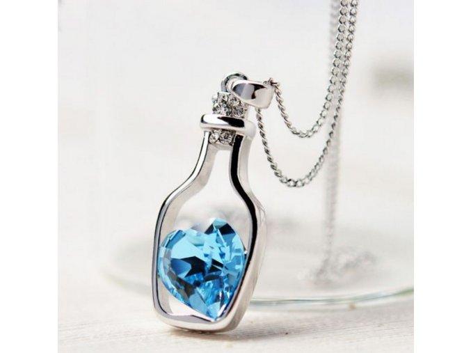 Dámský náhrdelník Srdce v láhvi z rhodiované bižuterie PN182