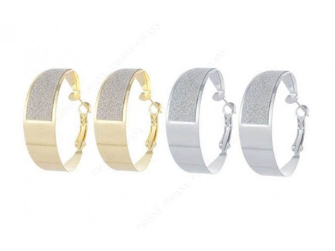 Dámské kruhové náušnice z pískované chirurgické oceli- 2 barvy SE89