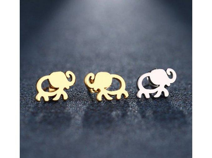 Dámské náušnice- pecičky ve tvaru slona pro štěstí z chirurgické oceli- 2 barvy