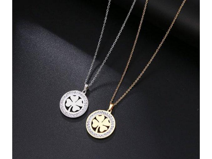 Dámský náhrdelník s přívěskem čtyřlístku z chirurgické oceli a zirkony PN187