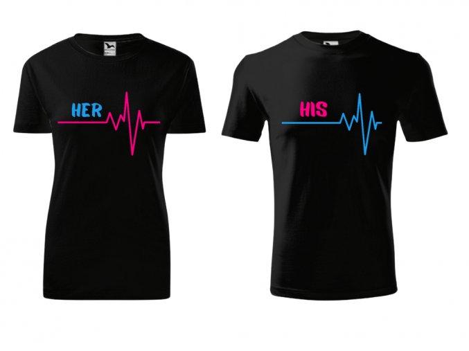 Tričko pro páry- His- Her- černé (Velikost dámská XS, Velikost pánská XL)