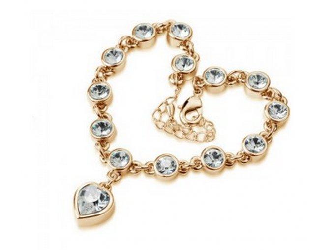 Náramek se zirkony ve tvaru srdce gold CB000018 (Barva Růžová)