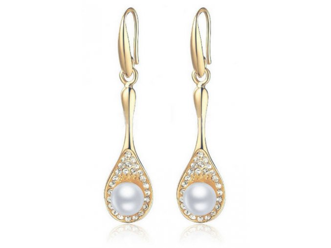Náušnice Gorgelus se zirkony a perlou CE000015 (Barva Zlatá)