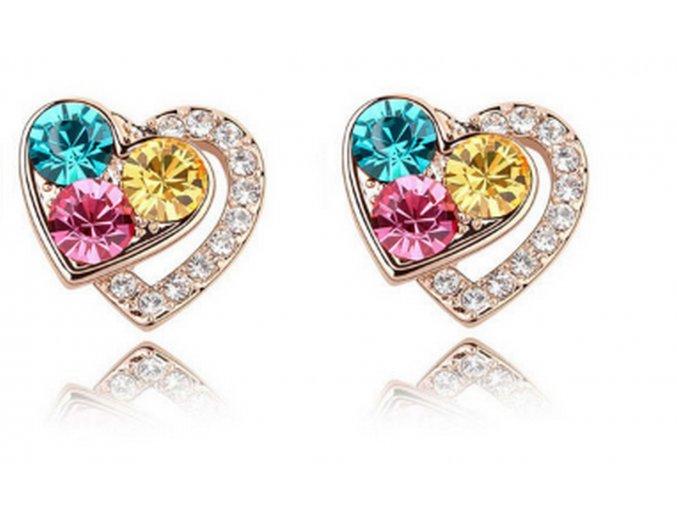Náušnice Heart shaped- gold CE000024 (Barva Vícebarevná)
